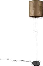 Lampadaire abat-jour noir marron 40 cm réglable -
