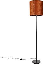 Lampadaire abat-jour velours noir orange 40 cm -