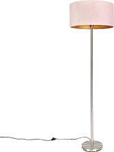 Lampadaire acier avec abat-jour rose 50 cm - Simplo