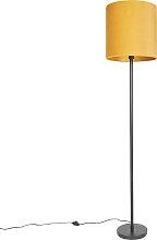 Lampadaire Art Déco noir avec abat-jour jaune 40