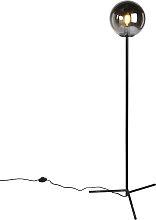 Lampadaire Art Déco noir avec verre fumé - Pallon