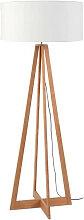 Lampadaire bambou 4 pieds abat-jour blanc