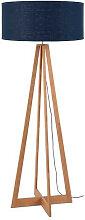 Lampadaire bambou 4 pieds abat-jour bleu