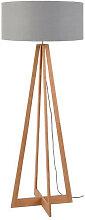 Lampadaire bambou 4 pieds abat-jour gris clair