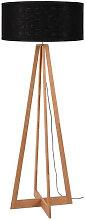 Lampadaire bambou 4 pieds abat-jour noir