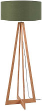 Lampadaire bambou 4 pieds abat-jour vert foncé