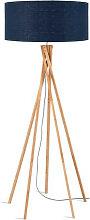 Lampadaire bambou abat-jour bleu