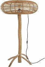 Lampadaire bohème en bois de teck abat-jour rotin