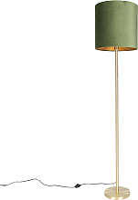 Lampadaire botanique en laiton avec abat-jour vert