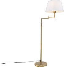 Lampadaire bronze avec abat-jour blanc et bras