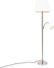 Lampadaire classique en acier avec abat-jour blanc
