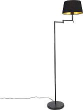 Lampadaire classique noir réglable avec abat-jour