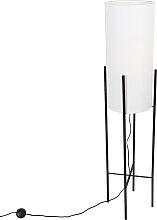 Lampadaire design abat-jour en lin noir blanc -