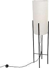 Lampadaire design abat-jour en lin noir gris - Rich