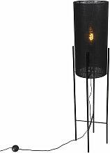 Lampadaire Design abat-jour en lin noir noir -