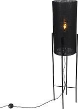 Lampadaire design abat-jour en lin noir noir - Rich