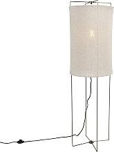 Lampadaire design acier avec abat-jour en lin