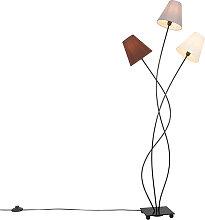 Lampadaire design noir avec abat-jour en tissu 3