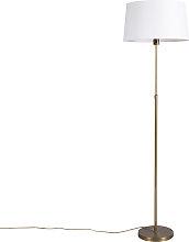 Lampadaire en bronze avec abat-jour en lin blanc