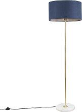 Lampadaire en laiton avec abat-jour bleu 50 cm -