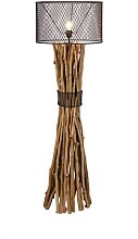 Lampadaire en métal pied en bois H149