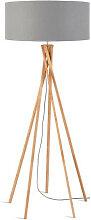 Lampadaire gris clair trépied bambou