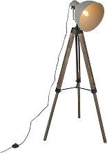 Lampadaire industriel sur trépied en bois avec