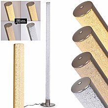 Lampadaire LED Pipe en métal, nickel mat, lampe