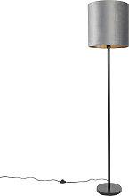 Lampadaire moderne abat-jour noir gris 40 cm -