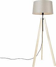 Lampadaire Moderne bois lin abat-jour beige 45 cm