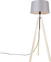 Lampadaire moderne bois lin abat-jour gris foncé