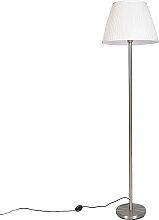 Lampadaire moderne en acier avec abat-jour plissé