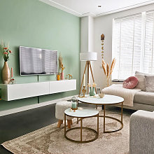 Lampadaire Moderne en bois avec abat-jour blanc -
