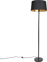 Lampadaire moderne noir avec abat-jour noir 45 cm