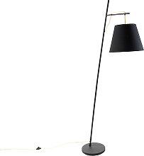 Lampadaire moderne noir avec abat-jour noir et or