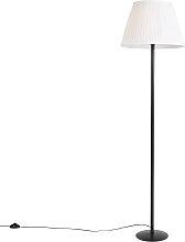 Lampadaire moderne noir avec abat-jour plissé