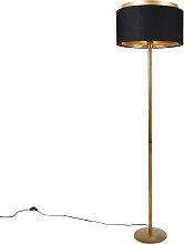Lampadaire moderne or avec abat-jour noir avec or