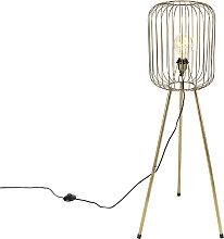 Lampadaire moderne trépied en laiton - Wire