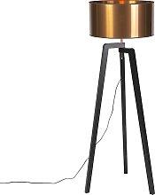 Lampadaire noir avec abat-jour en cuivre 50 cm -