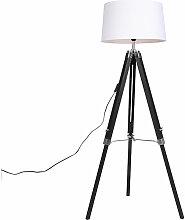 Lampadaire noir avec abat-jour en lin blanc 45 cm