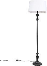 Lampadaire noir avec abat-jour en lin blanc 45cm -