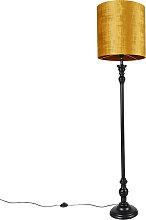 Lampadaire noir avec abat-jour en tissu doré 40
