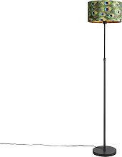 Lampadaire noir avec abat-jour en velours paon et