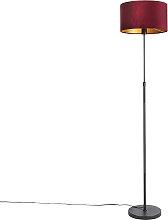 Lampadaire noir avec abat-jour en velours rouge
