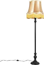 Lampadaire noir avec abat-jour Granny doré -