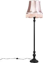 Lampadaire noir avec abat-jour Granny rose -