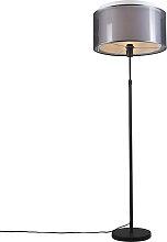 Lampadaire noir avec abat-jour noir / blanc 47 cm