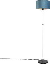 Lampadaire noir avec abat-jour velours bleu avec