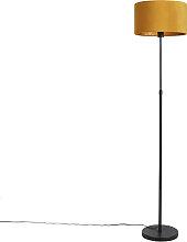 Lampadaire noir avec abat-jour velours ocre jaune