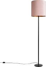 Lampadaire noir avec abat-jour velours rose avec